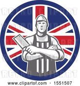 Vector Clip Art of Retro Butcher Holding a Cleaver in Folded Arms Inside a Union Jack Flag Circle by Patrimonio