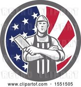 Vector Clip Art of Retro Butcher Holding a Cleaver in Folded Arms Inside an American Flag Circle by Patrimonio