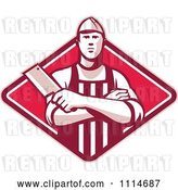 Vector Clip Art of Retro Butcher Holding a Cleaver in Folded Arms over a Red Diamond by Patrimonio