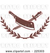 Vector Clip Art of Retro Butcher Knife and Sharpener Logo with a Laurel by Patrimonio