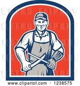 Vector Clip Art of Retro Butcher Sharpening a Knife on a Shield by Patrimonio