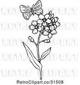 Vector Clip Art of Retro Butterfly and Flowers by Prawny Vintage