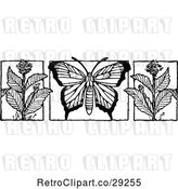 Vector Clip Art of Retro Butterfly and Milkweed Flowers by Prawny Vintage