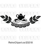 Vector Clip Art of Retro Cake and Tea Design Element by Prawny Vintage