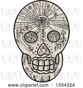 Vector Clip Art of Retro Calavera Sugar Skull Tattoo with Leaves, a Snake and Dagger by Patrimonio