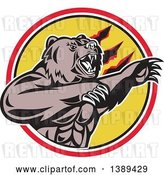 Vector Clip Art of Retro California Grizzly Bear Attacking in a Black White Yellow and Red Circle by Patrimonio