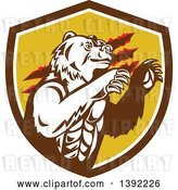 Vector Clip Art of Retro California Grizzly Bear Attacking in a Brown White and Yellow Shield by Patrimonio