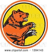 Vector Clip Art of Retro California Grizzly Bear Attacking in an Orange White Black and Yellow Circle by Patrimonio