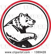 Vector Clip Art of Retro California Grizzly Bear in a Black White and Red Circle by Patrimonio