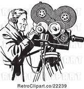 Vector Clip Art of Retro Camera Guy Filming by BestVector