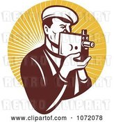 Vector Clip Art of Retro Camera Guy Holding a Camera over Orange Rays by Patrimonio