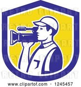 Vector Clip Art of Retro Camera Guy in a Yellow and Blue Shield by Patrimonio