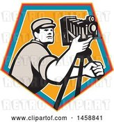 Vector Clip Art of Retro Camera Guy with a Tripod in a Crest by Patrimonio