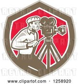 Vector Clip Art of Retro Cameraman Filming in a Brown White and Pink Shield by Patrimonio