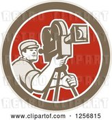 Vector Clip Art of Retro Cameraman Filming in a Brown White and Red Circle by Patrimonio