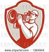 Vector Clip Art of Retro Cameraman Filming in a Shield by Patrimonio