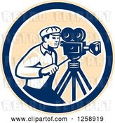 Vector Clip Art of Retro Cameraman Filming in a Tan Blue and White Circle by Patrimonio
