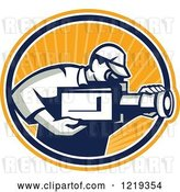 Vector Clip Art of Retro Cameraman Filming over an Orange Sunny Oval by Patrimonio