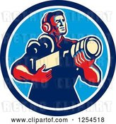 Vector Clip Art of Retro Cameraman Holding His Camera in a Circle by Patrimonio