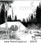 Vector Clip Art of Retro Camp Site with Silhouetted People in a Tent by Prawny Vintage