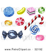 Vector Clip Art of Retro Candies by AtStockIllustration