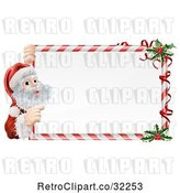 Vector Clip Art of Retro Candy Cane Christmas Sign with Santa and Holly by AtStockIllustration