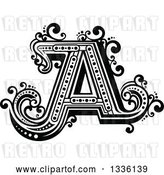 Vector Clip Art of Retro Capital Letter a with Flourishes by Vector Tradition SM