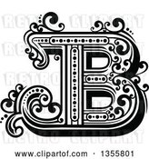 Vector Clip Art of Retro Capital Letter B with Flourishes by Vector Tradition SM
