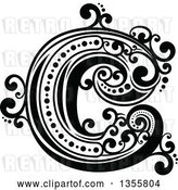 Vector Clip Art of Retro Capital Letter C with Flourishes by Vector Tradition SM