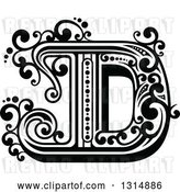 Vector Clip Art of Retro Capital Letter D with Flourishes by Vector Tradition SM