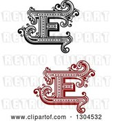 Vector Clip Art of Retro Capital Letter E Designs with Flourishes by Vector Tradition SM