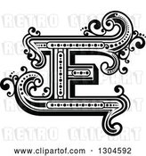 Vector Clip Art of Retro Capital Letter E with Flourishes by Vector Tradition SM