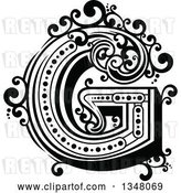 Vector Clip Art of Retro Capital Letter G with Flourishes by Vector Tradition SM