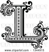 Vector Clip Art of Retro Capital Letter L with Flourishes by Vector Tradition SM