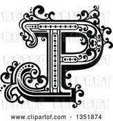 Vector Clip Art of Retro Capital Letter P with Flourishes by Vector Tradition SM