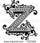 Vector Clip Art of Retro Capital Letter Z with Flourishes by Vector Tradition SM
