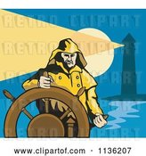 August 14th, 2018: Vector Clip Art of Retro Captain and Helm near a Lighthouse by Patrimonio