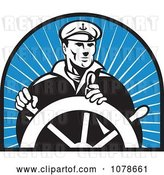 Vector Clip Art of Retro Captain and Helm over Blue Rays Logo by Patrimonio