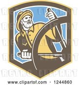 Vector Clip Art of Retro Captain Fisher Man Steering in a Shield by Patrimonio