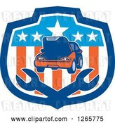 Vector Clip Art of Retro Car and Crossed Wrenches in an American Flag Shield by Patrimonio
