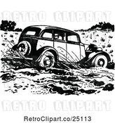 Vector Clip Art of Retro Car Driving Through Mud by Prawny Vintage