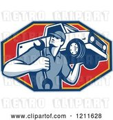 Vector Clip Art of Retro Car Mechanic Holding a Truck on His Shoulder over a Red Octagon by Patrimonio