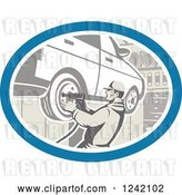 Vector Clip Art of Retro Car Mechanic Working on Tires in a Garage by Patrimonio
