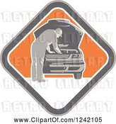 Vector Clip Art of Retro Car Mechanic Working Under the Hood in a Diamond by Patrimonio
