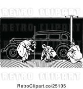 Vector Clip Art of Retro Car Model Drawing and Men by Prawny Vintage