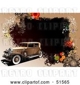 Vector Clip Art of Retro Car on a Brown Grunge Halftone and Circle Background by