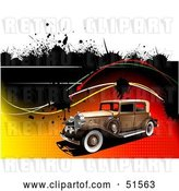 Vector Clip Art of Retro Car on a Gradient Halftone Background with Waves and Splatters by