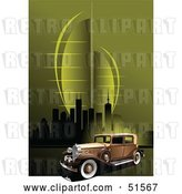 Vector Clip Art of Retro Car on a Green Urban Background by