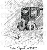 Vector Clip Art of Retro Car Passing a Homeless Dog in Rain or Snow by Prawny Vintage