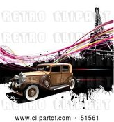 Vector Clip Art of Retro Car Speeding past the Eiffel Tower, with Pink Waves by